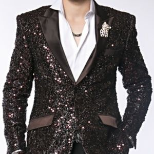 Brown Sequin Blazer 48L